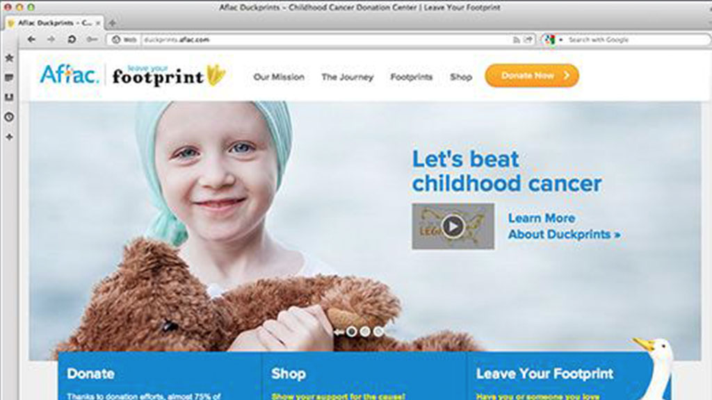 Website hub (www.AflacDuckprints.com) where consumers are encouraged to share stories about their commitment, donate, and engage with the brand.