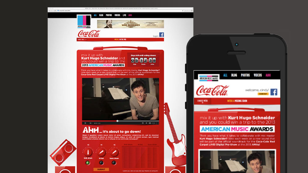 Responsive website for 2012 and 2013 versions of the American Music Awards' teen experience