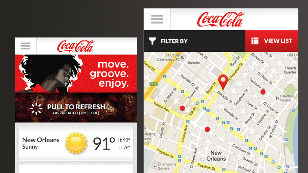 Mobile App that served as a companion to the attended of Coca-Cola events such as the Essence Music Festival in New Orleans.