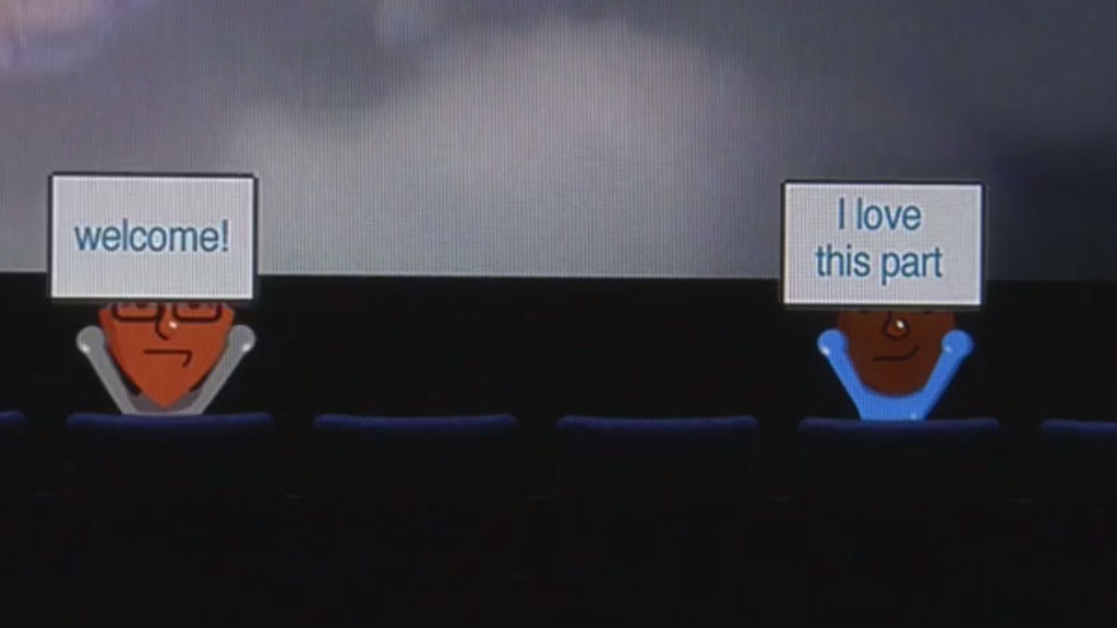 Avatar Theater promotes active shared viewing by groups in separate locations watching live or on demand programs synchronously.The theater extends the traditional home viewing experience, to include the virtual presence of other viewers who can share their reactions to the program in real time or asynchronously through persistent annotations.